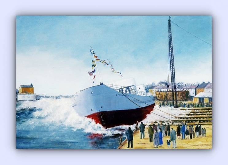 Coastal craft BP haulier (oil on canvas)