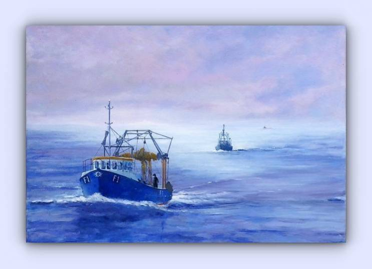 Fishing boat F1 Louise (oil on canvas)