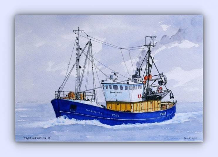Fishing boat Fairweather V (ink & watercolour)