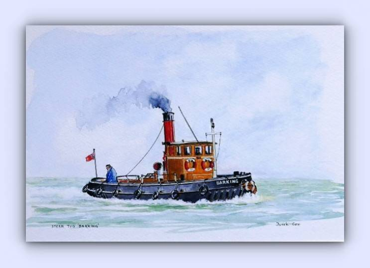 Coastal craft Barking (ink & watercolour)