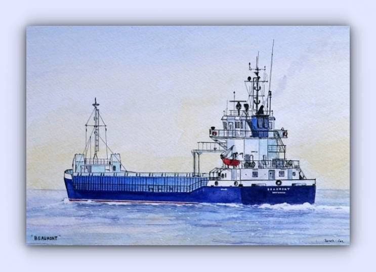 Coastal craft Beaumont (ink & watercolour)