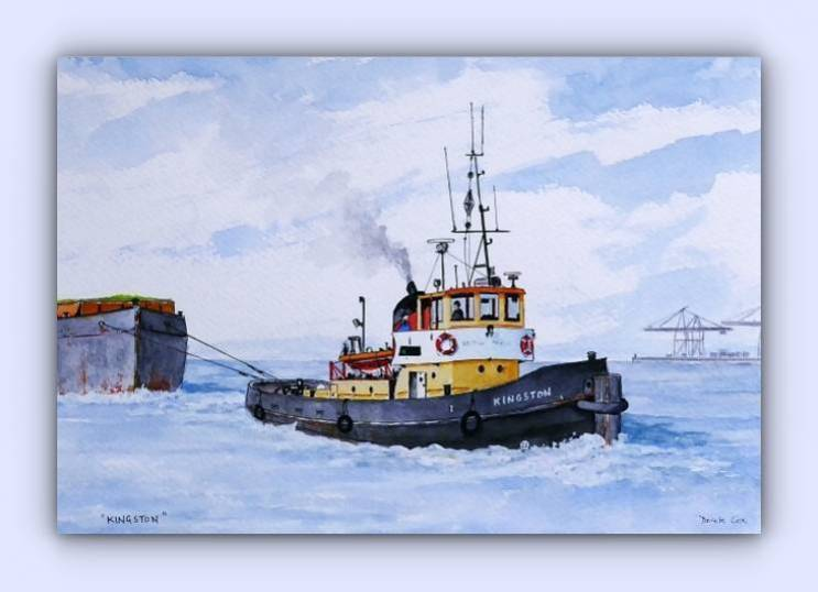 Coastal craft Kingston (ink & watercolour)