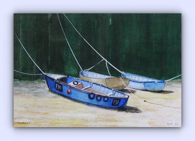 Fishing boat F91 Floreat (ink & watercolour)
